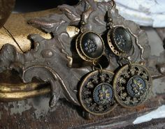 Upcycled Antique Filigree Button Earrings with by TheGildedGypsies