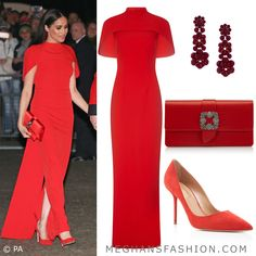 The Duke and Duchess of Sussex attended the Mountbatten Festival of Music this evening at the Royal Albert Hall in London. Meghan wore a red SAFIYAA Kalika cape-effect crepe gown. Estilo Meghan Markle, Meghan Markle Style, Meghan Markle Outfits, Glenda, Modest Fashion, Fashion Outfits, Safiyaa, Gown Suit, Prinz Harry