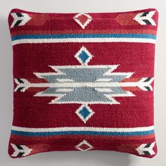 Crafted in India of heavily textured wool, our kilim pillow features an arrow-inspired pattern in rich shades of red and blue.