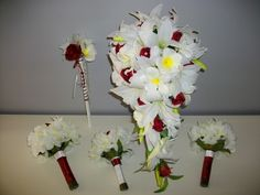 This set contains lilies, orchids roses and frangipanis all finished with decorative stem wrap asd diamante pin detail. Alter any set to suit your theme and bridal party. Fake Wedding Flowers, Flower Bouquet Wedding, Asd, Lilies, Bouquets, Orchids, Sydney, Latex, Roses