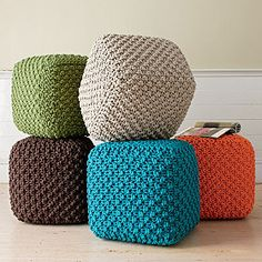 I could totally make these! Just six knitted squares grafted together with kitchener stitch! VOILA