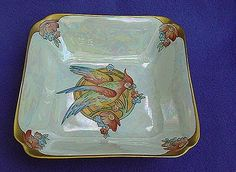 1920's - 30's Hutschenreuther Hand Painted Veggie Bowl w/ Parrot    From Ruby Lane Shop Antique Beak