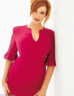Mad about the woman! Christina Hendricks shows off her hourglass curves in a plunging pink dress for sexy new shoot | Mail Online