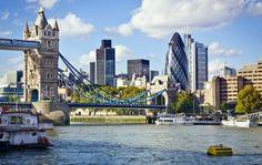 The Tower Bridge & The Gherkin, London, England City Of London, London Blog, London House, London Eye, London Hotels, Gherkin London, Hotel Familiar, Tower Bridge London, Swinging London