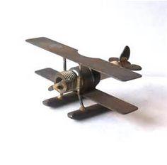 Metal Art Spark Plug Bi-Plane Float Plane by MargsMostlyVintage