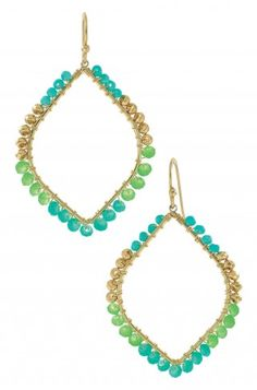 Stella & Dot Raina Earrings - the ocean blue and green colors are perfect for summer!