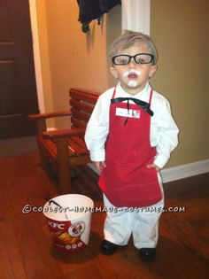 Cute Homemade Colonial Sanders and Chicken Children Costume... This website is the Pinterest of costumes