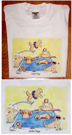 Whimsical Golden retriever Pool shirt ALL SIZES by JennysDogArt, $20.00