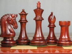 Triple Weight Staunton Chess Set Blood Red Bud Rose Wood. http://www.chessbazaar.com/chess-pieces/wooden-chess-pieces/triple-weight-staunton-chess-set-blood-red-bud-rose-wood.html