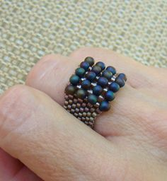 Blue Bronze Beaded Ring Textured Raku Square by ElephantBeads