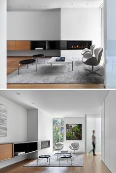 Stepping inside this modern house, there's a sitting area with a built-in fireplace, and views of the street. #SittingRoom #Fireplace