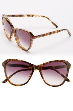 Love the subtle retro vibe of these sleek and slender tortoiseshell sunglasses.
