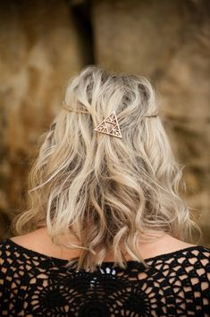 Silver Triangle Hair Clip New Uk Boho Boutique Festival Luxury Pretty Party