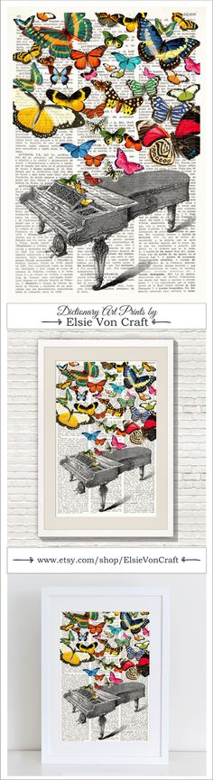 BUTTERFLIES SYMPHONY #118, Dictionary Art Print, Multicolored butterflies coming out of a vintage piano, wall art, Collage Illustration. $9.99