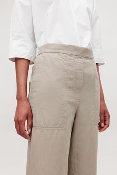 27b17e12c8c ROUNDED COTTON-LINEN CHINOS - Light beige - Trousers - COS
