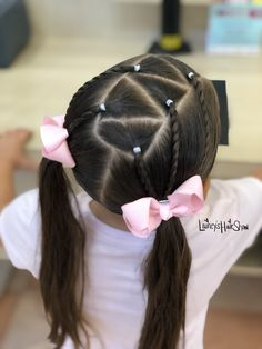 Cute pigtail ideas triangle parts with twists Cute Toddler Hairstyles, Lil Girl Hairstyles, Kids Braided Hairstyles, Easy Little Girl Hairstyles, Girls Hairdos, Hair Shows, Hair Videos, Hair Styles, Twists