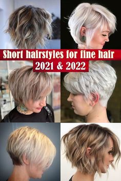Short hairstyles for fine hair 2021-2022 Short Grey Hair, Short Hair Styles, Cool Short Hairstyles, Fine Hair, Most Beautiful Women, Hair Color, Short Gray Hair, Bob Styles, Posh Hair