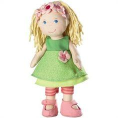 Fabric doll, Haba dolls. Marie incanterà tutti con il suo vestitino verde, i fuseaux, le scarpe e la fascia fiorita per i capelli. Ha naso, bocca e occhi azzurri ricamati, capelli in ciniglia ed una espressione davvero simpatica, da vera amica. La puoi acquistare su http://www.giochiecologici.it/p/532/bambola-marie