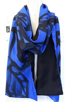 Reversible Large Silk Scarf, Black and Blue Sumi Rose