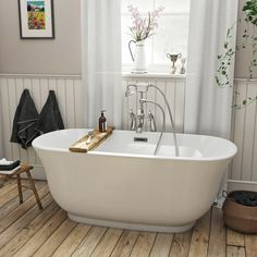 The Bath Co. Camberley traditional freestanding bath 1500 x 720 # Traditional Baths, Traditional Bathroom, Freestanding Bath With Shower, Wall Mounted Taps, Compact Bathroom, Media Room Design, Bath Panel, Modern Masters, Shower Remodel