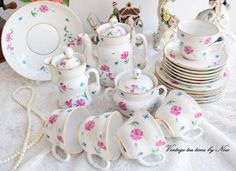 Tea set vintage hand painted tea set by VintageTeaTimeByNiw