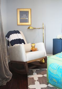 Little Green Notebook- Nursery with sources.  Check out all the pictures, and I love the mini sofa by Jonathan Adler.
