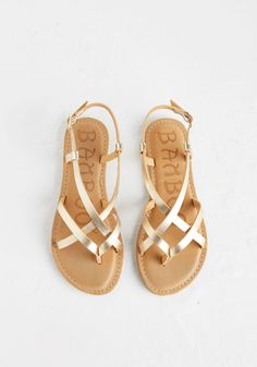 Slingback to the Beach Sandal in Gold #shoes #sandal