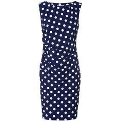 Jerseykleid mit Punkten Navy/Weiß - Polyvore