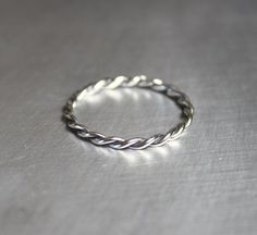 Silver Twist Ring Braided Ring Thin Silver Ring by JenniferWood, $20.00