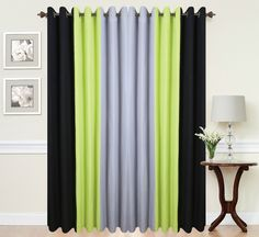 eyelet curtains ring top fully lined pair ready made 3 tone lime green in home