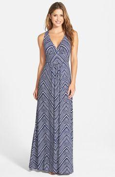LOVEAPPELLA V-Neck Jersey Maxi Dress (Regular & Petite)