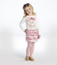 Conjunto Infantil Shorts Saia Ursinha Momi