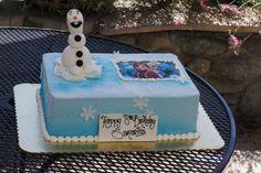 Blue pressed sugar Disney Frozen themed birthday sheet cake