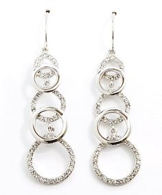 This Silver & Crystal Circle Drop Earrings by Amabel Designs is perfect! #zulilyfinds