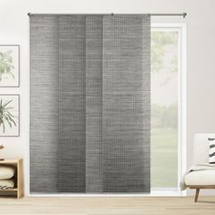Chicology Panel Track Blinds Birch White Cordless Light Filtering Adjustable with 22 in Slats Up to 80 in. W x 96 in – The Home Depot - Modern Sliding Door Panels, Sliding Door Curtains, Sliding Door Window Treatments, Sliding Patio Doors, Sliding Glass Door, Panel Doors, Windows And Doors, Home Depot, Patio Door Blinds