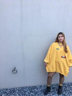 Oversized Sweatshirts Dress with Fleece (Mustard) on yeseoul.com