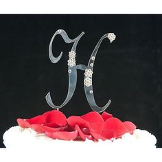 Swarovski Crystal Flower Monogram Cake Topper Silver Initial  Letter H *** Read more reviews of the product by visiting the link on the image.