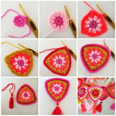 DIY crochet bunting - pattern is in Dutch but I could probable figure it out Bunting Pattern, Crochet Bunting, Crochet Garland, Crochet Decoration, Love Crochet, Beautiful Crochet, Crochet Crafts, Crochet Yarn, Crochet Flowers