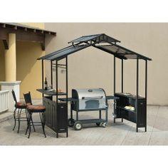 New Outdoor Patio Grill Shelter Pergola Gazebo Hard Top Slate Shelves Cleaning Granite Counters, Outdoor Kitchen Countertops, Outdoor Kitchen Bars, Outdoor Kitchen Design, Concrete Countertops, Patio Design, Outdoor Kitchens, Outdoor Spaces, Kitchen Island