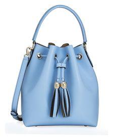 GABRIELLE'S AMAZING FANTASY CLOSET   Thompson Drawstring Sky Blue Smooth Leather Drawstring Bucket Bag  