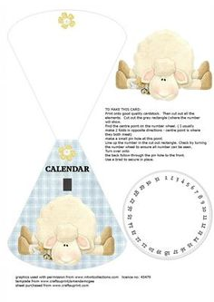 sheep wobble card any year calendar on Craftsuprint - Add To Basket!
