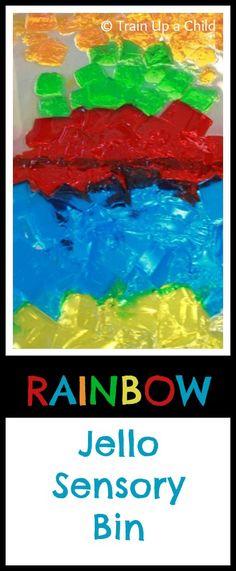 RAINBOW Jello Sensory Bin - Sensory play that's easy to prepare, and I guarantee your kiddos will love it!