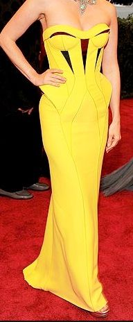 Geometric peplum dress // January Jones 2012 Met Ball, Versace
