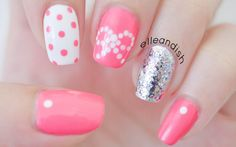 Easy bow nail art.. using dots! If you don't have a dotting tool, DIY it: snip off the bristle of a cheap hairbrush instead (the ones with the little bulbs o...