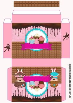 Cupcake Packaging, Food Box Packaging, Candy Theme Birthday Party, Paper Box Template, Diy And Crafts, Paper Crafts, Crochet Hair Accessories, Printable Box, Cupcake Boxes
