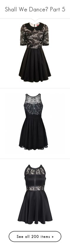 """""""Shall We Dance? Part 5"""" by jinx13a ❤ liked on Polyvore featuring dresses, black, vestidos, clearance, collared dresses, 3/4 sleeve skater dress, lace collar dress, lace skater dress, lace overlay dress and short dresses"""