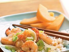 The peppery flavor of ginger in this shrimp stir-fry complements the spiciness of the chile paste and sweetness of the rice wine. Serve...