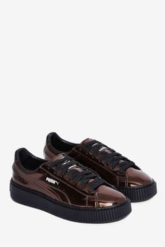 PUMA Basket Platform Metallic Sneaker - Pewter - Shoes  3963491770