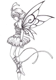 Ballet Dancer Coloring Pages - Bing images Fairy Drawings, Balerina Drawing, Sketches, Deviantart Drawings, Feather Tattoo Design, Fairy Wings Costume, Anime Fairy, Ballet Dancers, Fairy Coloring