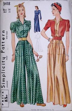 40s jumpsuit pants outfit pantsuit green dot tan red wide leg color illustration print ad pattern vintage fashion style Simplicity 3418 (1940)